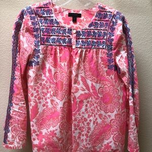 J Crew pink and white embroidered blouse - size 6